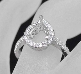 Wholesale Diamond Semi Ring - New Pear 8x12mm Solid 14kt White Gold Diamond Semi mount Wedding Ring