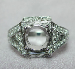 Wholesale Diamond Semi Mount Rings 6mm - Solid 14kt White Gold Natural Diamond Engagement Semi Mount Ring Round 6mm