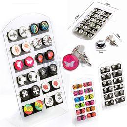Wholesale Playboy Jewelry - 288Pcs(12cards) Playboy Logo Ear Stud Earring Enamel Logo Letter Mix 4 Style Body Jewelry [JE20007-JE20010*3]