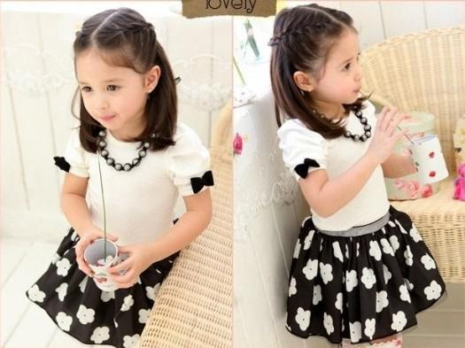 87929b3b7917 2013 Korean Style New Arrival Fashion 3-7 Years Baby Girl's Foreign Trade  Summer Cotton Black/White Suits Short Sleeve T-shirts+Cute Skirts
