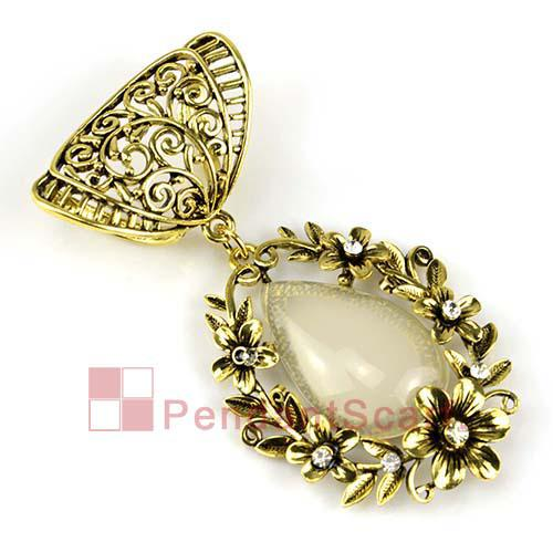 2PCS/LOT, Top Fashion DIY Jewelry Necklace Scarf Findings Antique Bronze Alloy Flower Beige Resin Pendant Set Charm, Free Shipping, AC0193A