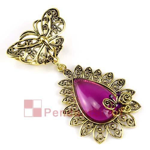 2PCS/LOT, Top Quality Jewelry Necklace Scarf Accessories Antique Bronze Alloy Butterfly Charm Purple Resin Pendant Set, Free Shipping, AC019