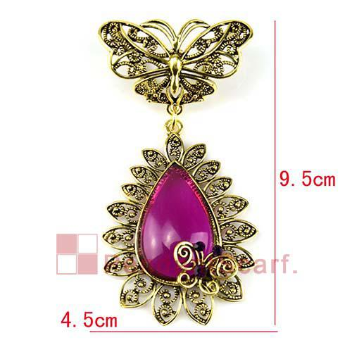 Top Quality Jewelry Necklace Scarf Accessories Antique Bronze Alloy Butterfly Charm Purple Resin Pendant Set, AC019