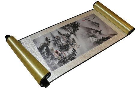 Pinturas de paisajes orientales rollos de seda china colgando pintura decoración arte pintado L100x30cm 1 pieza libre