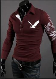 long sleeve tattoo print tops 2019 - New fashion Eagle tattoo slim shirt men's top sell long sleeve POLO shirt designer T shirt discount long sleeve tat