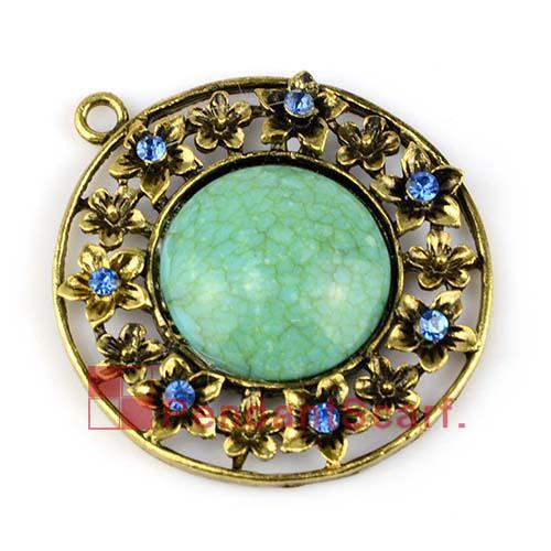 Hot Fashion DIY Jewelry Necklace Scarf Findings Antique Bronze Alloy Round Flower Charm Rhinestone Pendant, AC0201