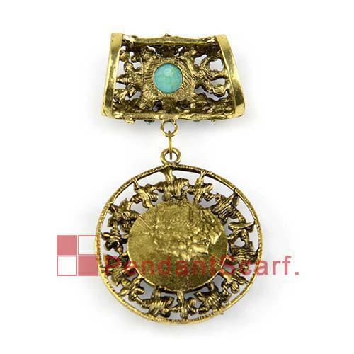 / Top popolare collana accessori sciarpa bronzo antico lega rotonda pendente del fiore set con fascino strass, trasporto libero, AC0202