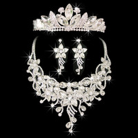 Wholesale Bridal Earrings Headpiece - TOP Quality Noble Bridal Jewelry Set Shining Crystal Headpieces Crown Tiara Romantic Rhinestone Necklace Earrings Bridal Accessories CN038