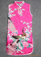 Wholesale Sleeveless Cheongsam - Baby girls dress little girls cheongsam Peacock Printing sleeveless X102, 5pcs lot.