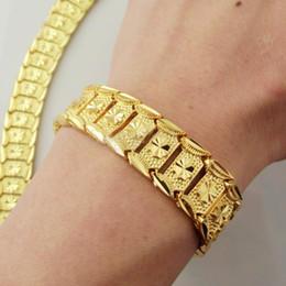 Wholesale Brand New Gps - Brand new 44g MEN 24K YELLOW GOLD GEP SOLID FILL GP BRACELET Fashion Men Gold Bracelet