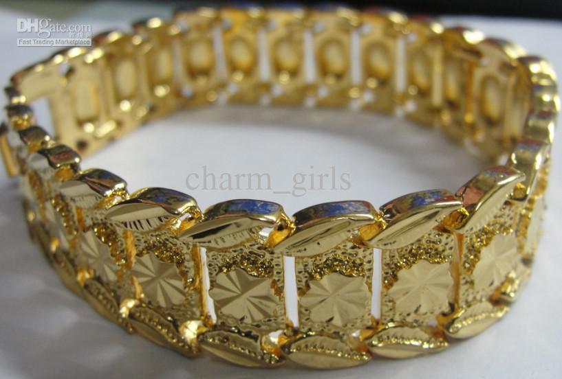 Brand New 44g HOMMES 24K JAUNE OR GEP SOLIDE REMPLIR GP BRACELET Mode Hommes Or Bracelet