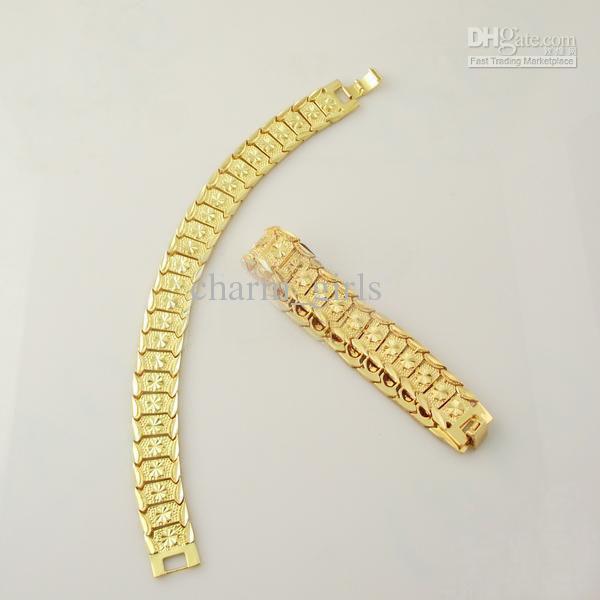 Gloednieuwe 44G Mannen 24K Geel Goud Gep Solid Fill GP Armband Mode Mannen Gouden Armband
