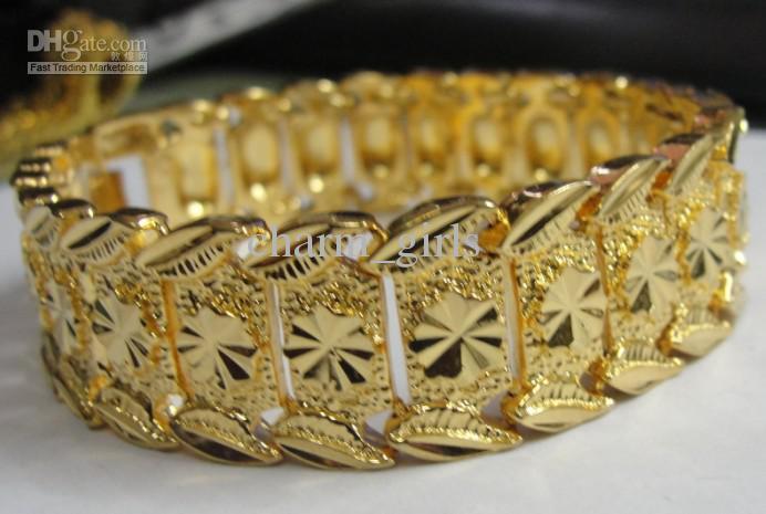Nova marca 44g HOMENS 24 K OURO AMARELO GEP SÓLIDOS ENCHIMENTO GP pulseira de Moda Homens Pulseira De Ouro