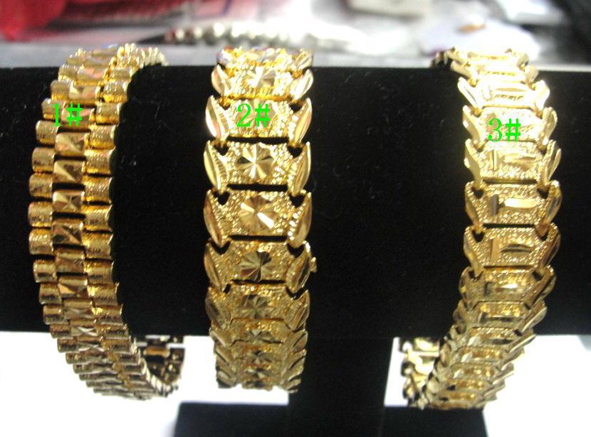 3 stijl gemengd gloednieuwe mannen 24 k geel goud geep solide vulling GP armband mode mannen gouden armband 8