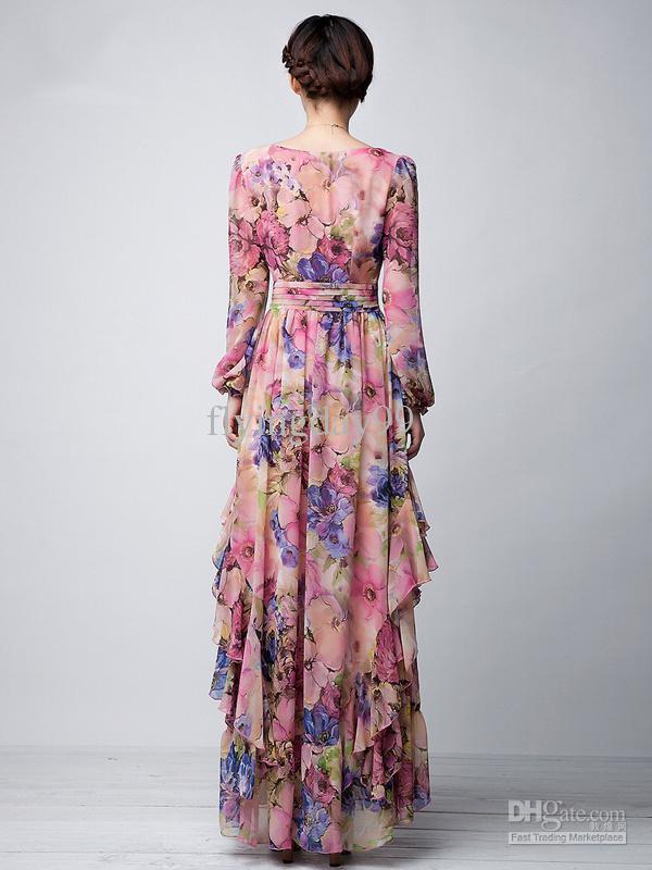 Pink Floral Printed Long Sleeves Chiffon Jewel Neck Maxi