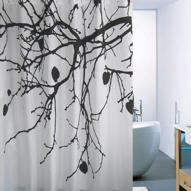Branch Printed Fabric Shower Curtain Polyester Waterproof with Free ...