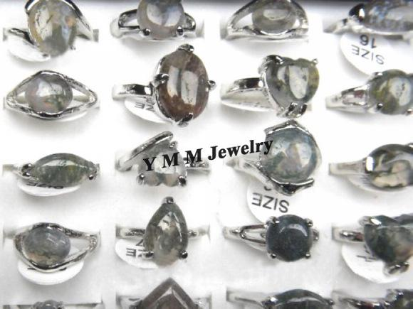 Wholesale Mix Natural Agate Stone Rings For Women