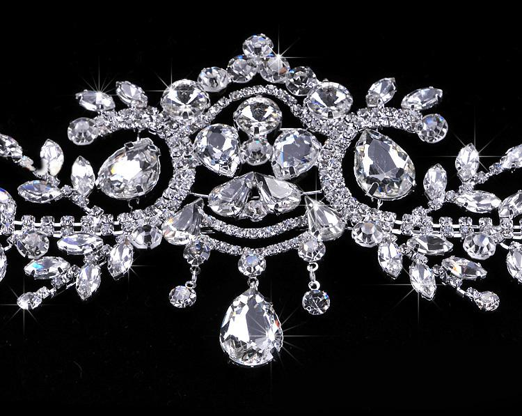 Nuovo arrivo Bling Bling placcato argento Crystal Crown Frontlet Collana di strass la sposa Wedding Party Favor CN006