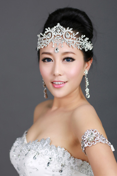New Arrival Bling Bling Silver Plated Crystal Crown Frontlet Rhinestone Necklace for Bride Wedding Party Favor CN006