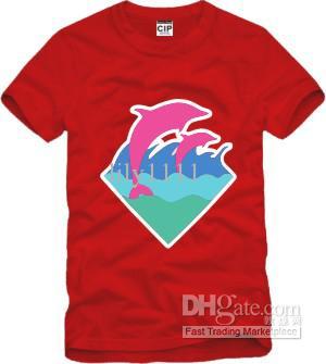 Ücretsiz kargo Çin Boyut S-XXXL 1 adet perakende tee pembe yunus o-boyun yunus baskı t shirt hip hop elbise büyük patlama 6 renk% 100% pamuk