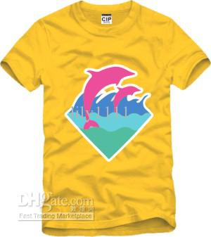 Chinese Size S--XXXL retail tee pink dolphin o-neck dolphin print t shirt hip hop clothes big bang 100% cotton