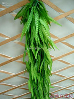 Wholesale Artificial Willow Vines - 2M long Artificial Willow green willow Simulation silk willow leaf flower vine home decoration FREE SHIPPING 100 pieces