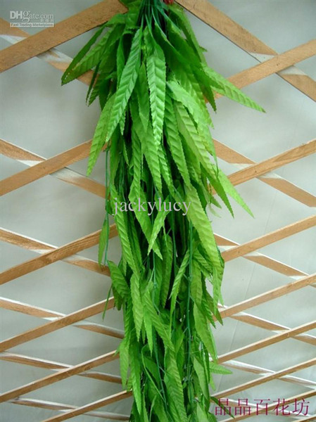 top popular 2M long Artificial Willow green willow Simulation silk willow leaf flower vine home decoration FREE SHIPPING 100 pieces 2019