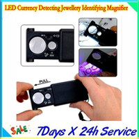 Wholesale Currency Detecting Magnifier - LED Currency Detecting Jewellery Identifying Magnifier  3 x LR1130 button battery  Plastic light source switch with 20pcs lot by dhl