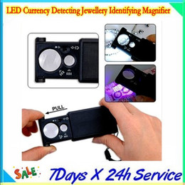 LED Currency Detecting Jewellery Identifying Magnifier  3 x LR1130 button battery  Plastic light source switch with 20pcs lot by dhl