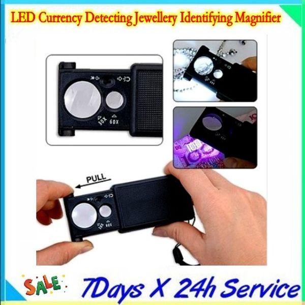 LED-Währung erkennen Schmuck identifizieren Lupe / 3 x LR1130 / Knopf Batterie / Kunststoff / Lichtquelle Schalter mit 20pcs / lot von Dhl