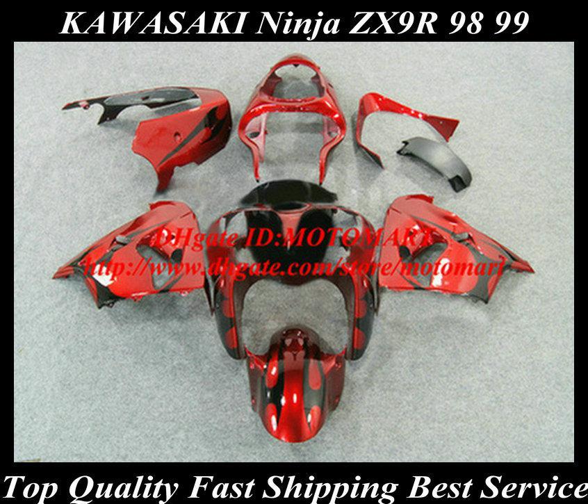 Carénage pour Kawasaki Ninja ZX9R 98 99 ZX-9R 1998 1999 ZX 9R 98 99 1998 1999 Flammes Black Flames Red Faréings Set