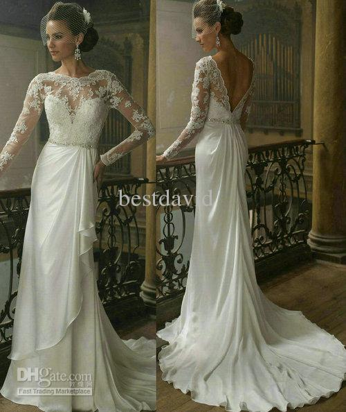 See larger image2013 Long Sleeve Lace Backless Wedding Dress Bateau Neck V Back  . Long Sleeve Backless Wedding Dresses. Home Design Ideas