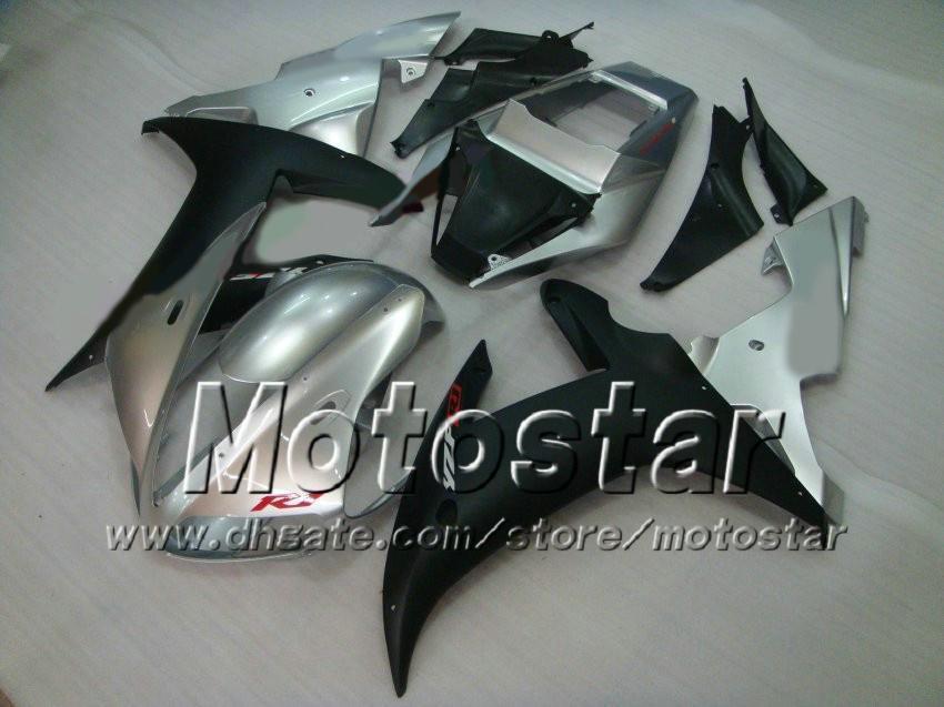 Matte Black Silver Carrosseriebereiken voor YZF R1 2002 2003 YZFR1 02 03 YZF-R1 Volledige kufferkit + 7 geschenken