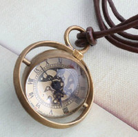 Wholesale Trendy Luxury Pendant Necklace Skeleton Mechanical Glass Crystal Ball Pocket Watch Brass Circle Ring Men Lady Sweater Necklace Watches