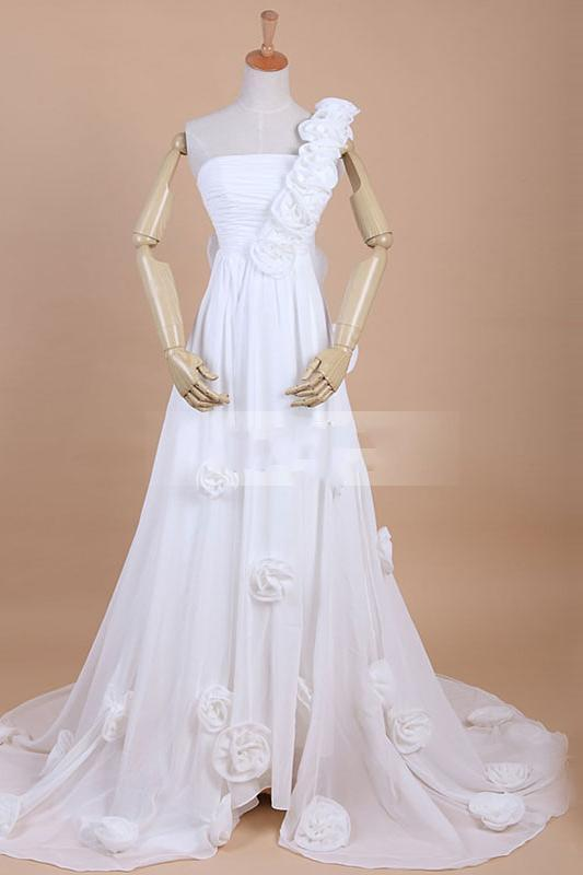 2013 Custom One Shoulder Strapless Court Train Ruffes Beach Wedding Dress Jurken