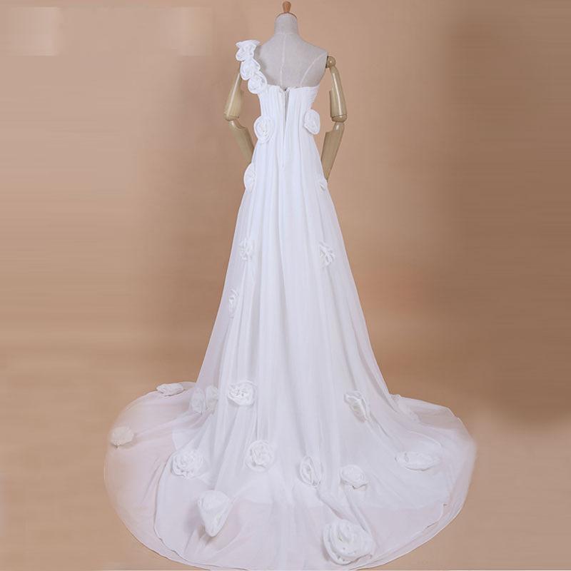 2013 personalizado um ombro strapless tribunal trem ruffes praia vestido de noiva vestidos