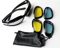 Wholesale Desert Sunglasses - Black Padded Sports Sunglasses Interchangeable Lenses For Cs Tactical Gaming Cycling Desert Hiking Outdoor Sports Sun Shades Sunnies