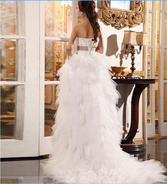 2013 Custom Gorgeous A-Line Strapless Asimetría longitud Sash Beach vestido de novia Dressse