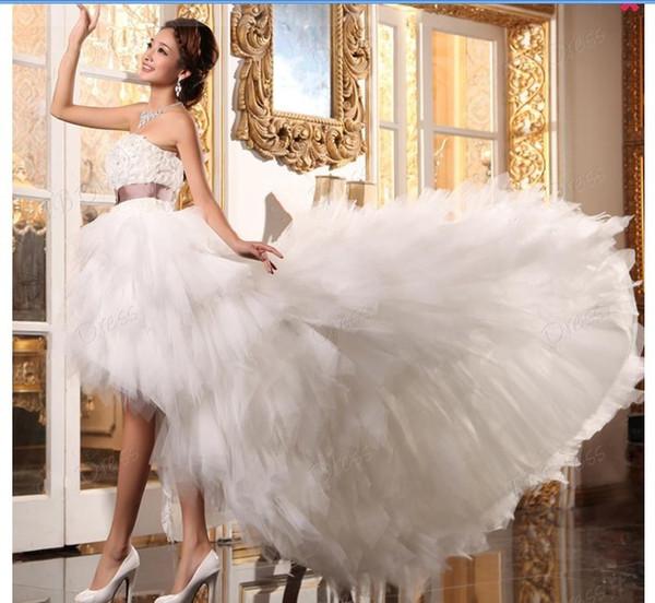 2013 Özel Muhteşem A-Line Straplez Asimetri Uzunluk Kanat Plaj Gelinlik Dressse
