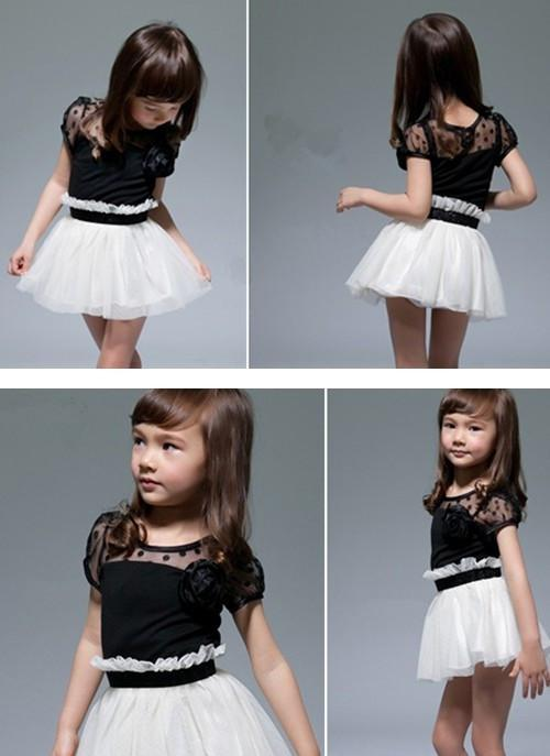 2017 New Arrive Baby Girls Black White Dresses Party Princess ...