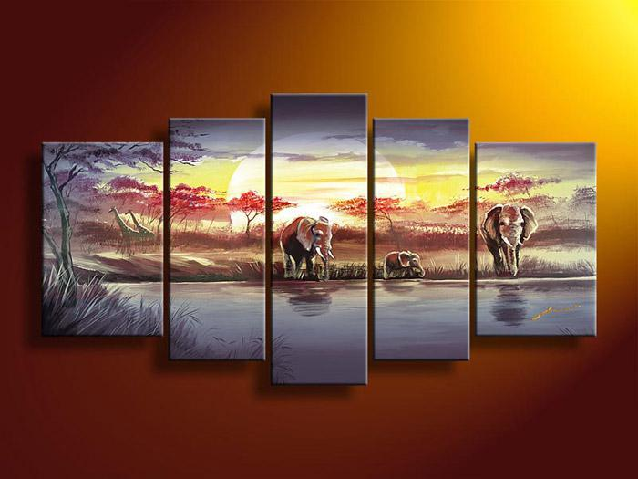 5 Piece Wall Art 2017 wall art african abstract blue elephant oil painting on