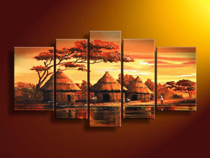2018 5 Panel Wall Art African Abstract Orange Sunset Oil Painting On Canvas Handmade Cheap Modern Art Pai From Youartspace $42.32 | Dhgate.Com & 2018 5 Panel Wall Art African Abstract Orange Sunset Oil Painting On ...
