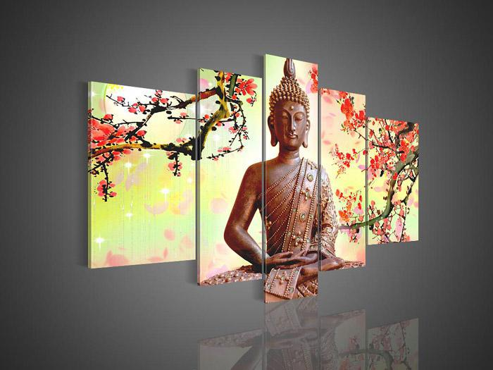 Wall Art Painting best 5 panel wall art religion buddha oil painting on canvas