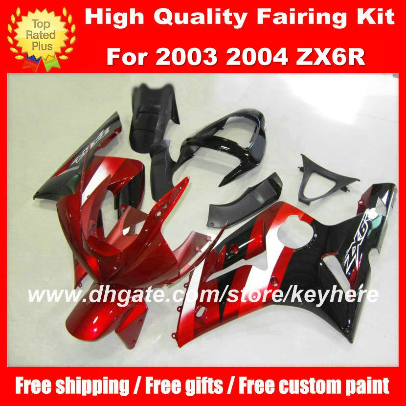 Customize ABS fairings kit for KAWASAKI ZX6R 03 04 Ninja ZX 6R 2003 2004 fairings g5a motorcycle body work red black aftermarket