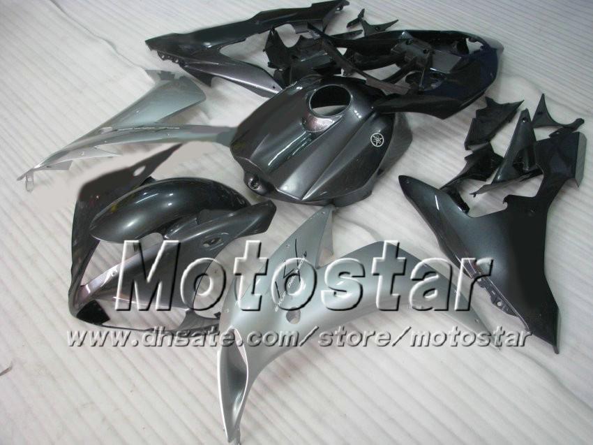 Black Siver ABS-carrosserie voor 2004 2005 2006 YZF R1 YZFR1 04 05 06 YZF-R1 VOLLEDIGE FUNLING KIT + GRATIS CADEAU