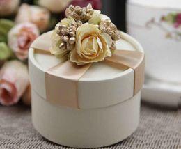 Wholesale Wholesale Champagne Box - Instock Circle Champagne Wedding Box Wedding Candy Boxes Favor Gift 100Pcs Lot 2015 Hot Sale Candy Boxes