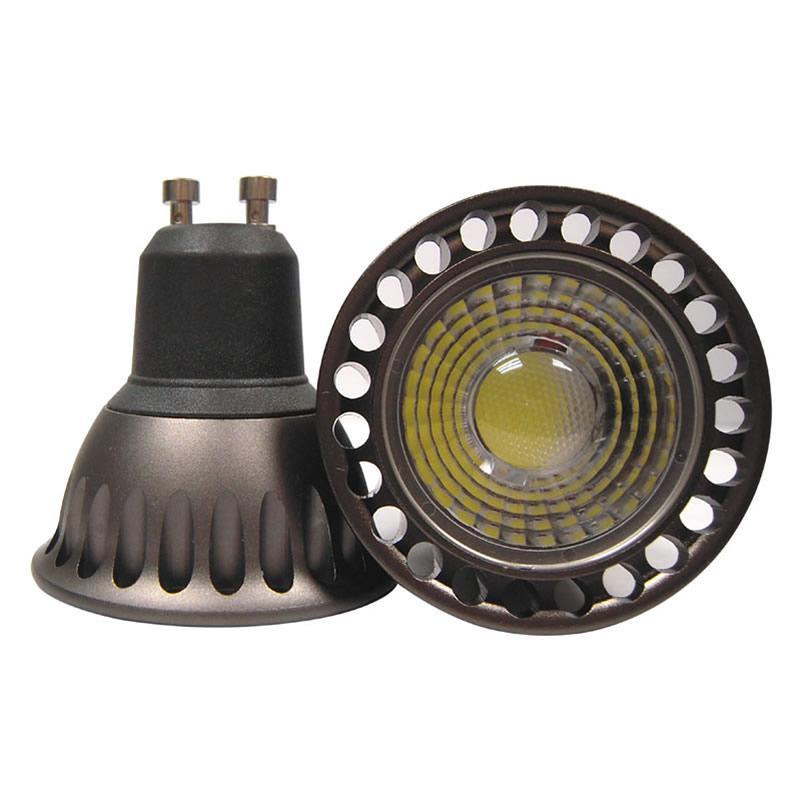 30pes / lote 5w Lámpara de bombilla LED de COB regulable 5W 500lm GU10 Foco LED LED 110V 220V cálido / blanco puro 2700k
