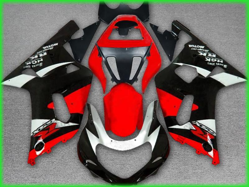 Pour suzuki 2001 2002 2003 GSXR 600 750 GSX-R600 Kit de carénage GSX-R750 K1 Red Black ZZ529