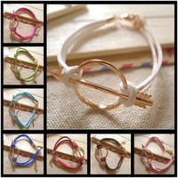 Wholesale Gold Arrow Bracelet Wholesale - 50PCS LOT Rose Gold Love Arrow Bracelet, Cupid's Arrow Bracelet, Friendship Bracelet, Charm Wax & Korea Cords Jewelry Bracelet