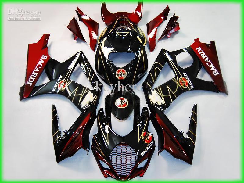 鈴木GSX-R1000 2007 2008 GSXR1000 07 08 GSXR 1000 K7レッドブラックフェアリング17Z22